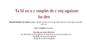 Tableau de conjugaison du verbe baden
