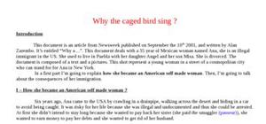Explication texte: Why the caged bird sing ?
