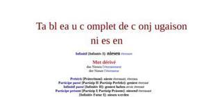 Tableaux de conjugaison du verbe niesen