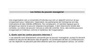Les limites du pouvoir managérial