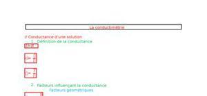 Fiche de chimie - La conductimétrie