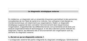 Le diagnostic stratégique externe