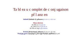Tableau de conjugaison du verbe pflanzen