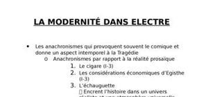 La modernité dans Electre de Giraudoux