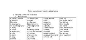 Aides lexicales en histoire-géographie