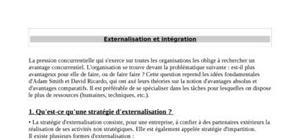 Externalisation et intégration