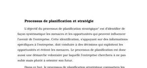 Processus de planification et stratégie