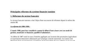 Principales réformes du système financier tunisien