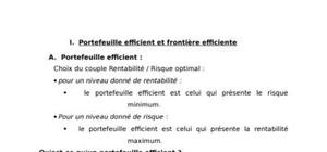 Portefeuille efficient et frontière efficiente