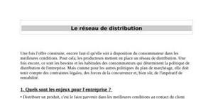Le réseau de distribution