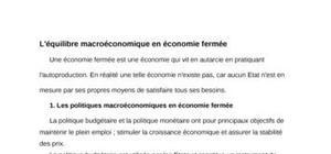 L'équilibre macroéconomique en économie fermée