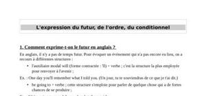 L'expression du futur, de l'ordre et du conditionnel