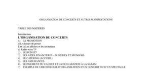 Organisation de concerts et autres manifestations
