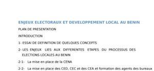 Enjeux éléctoraux et développement local au Bénin