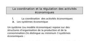 La coordination et la régulation des activités économiques