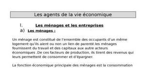 Les agents de la vie économique