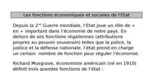 Les fonctions économiques et sociales de l'Etat