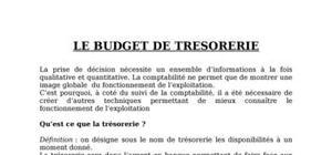 Le budget de trésorerie