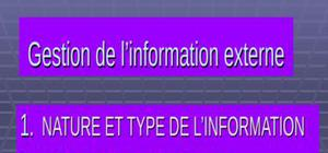 Gestion de l'information externe