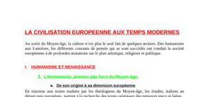 La civilisation européenne aux Temps Modernes