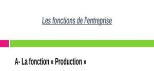 La fonction «Production» dans l'entreprise