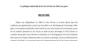 La politique industrielle en Côte d'Ivoire de 1960 à nos jours