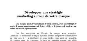 Développer une stratégie marketing autour de votre marque