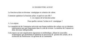 Marketing achat (fonction achat)