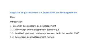 Registre de Justification la Coopération au développement