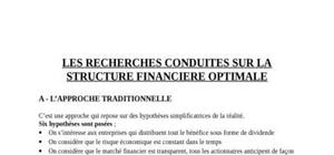 Les recherches conduites sur la structure financiere optimale