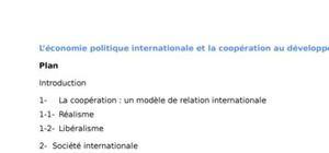L'économie politique internationale et la coopération au développement