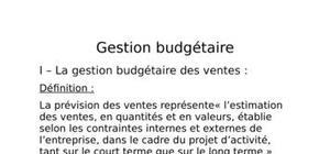 Gestion budgétaire cours complet