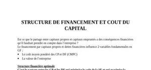 Structure de financement et cout du capital