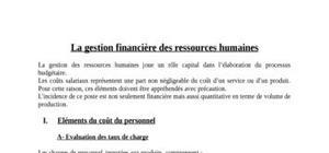 La gestion financière des ressources humaines