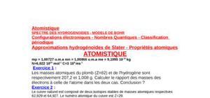 Atomistiques ;exercices et correction