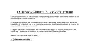 La responsabilite du constructeur