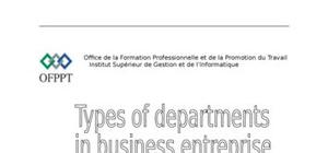 Types of departments in business entreprise