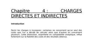 Les charges directes et indirectes