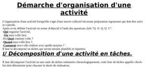 Démarche d'organisation d'une activité