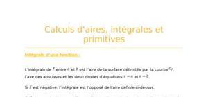 Calculs d'aire, intégrales et primitives