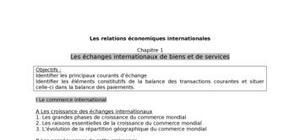 Les échanges internationaux de biens et de services