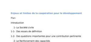 Enjeux et limites de la coopération pour le développement