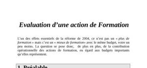 Evaluation d'une action de formation
