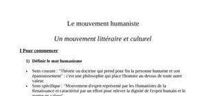 L'humanisme et le contexte dans lequel il est né.