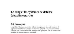 Le sang et les systèmes de défenses