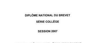 Sujet brevet 2007 histoire geographie education civique