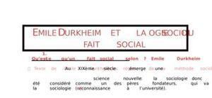 Emile Durkheim et la sociologie du fait social