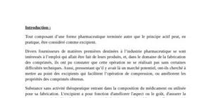 Les excipients pharmaceutiques