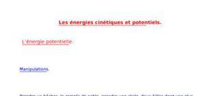 Les énergies cinétiques et potentiels