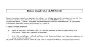 Histoire littéraire: le classicisme